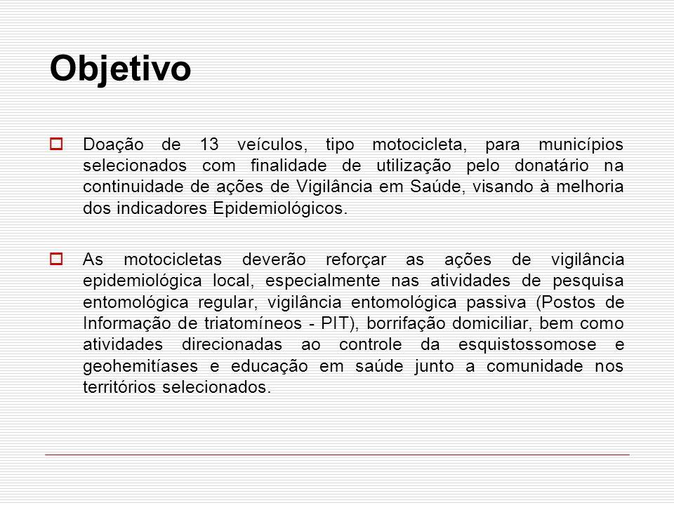 Objetivo Doação de 13 veículos, tipo motocicleta, para municípios selecionados com finalidade de utilização pelo donatário na continuidade de ações de