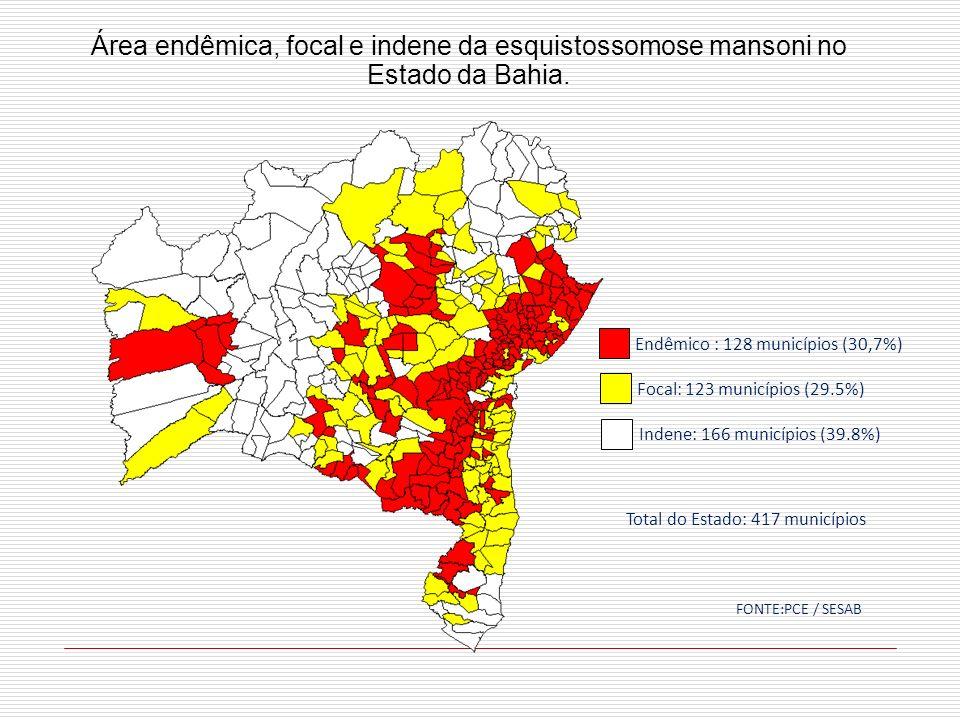 Área endêmica, focal e indene da esquistossomose mansoni no Estado da Bahia. Indene: 166 municípios (39.8%) Focal: 123 municípios (29.5%) Endêmico : 1