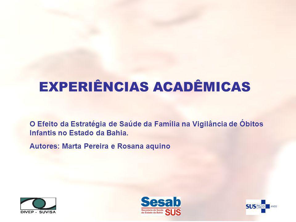 EXPERIÊNCIAS ACADÊMICAS O Efeito da Estratégia de Saúde da Família na Vigilância de Óbitos Infantis no Estado da Bahia. Autores: Marta Pereira e Rosan