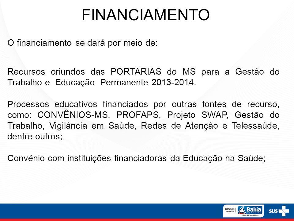 FINANCIAMENTO O financiamento se dará por meio de: Recursos oriundos das PORTARIAS do MS para a Gestão do Trabalho e Educação Permanente 2013-2014.