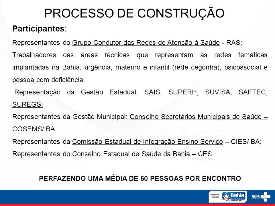 Participantes : Representantes do Grupo Condutor das Redes de Atenção à Saúde - RAS; Trabalhadores das áreas técnicas que representam as redes temáticas implantadas na Bahia: urgência, materno e infantil (rede cegonha), psicossocial e pessoa com deficiência; Representação da Gestão Estadual: SAIS, SUPERH, SUVISA, SAFTEC, SUREGS; Representantes da Gestão Municipal: Conselho Secretários Municipais de Saúde – COSEMS/ BA.