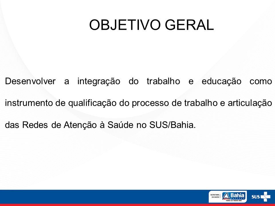 Desenvolver a integração do trabalho e educação como instrumento de qualificação do processo de trabalho e articulação das Redes de Atenção à Saúde no SUS/Bahia.