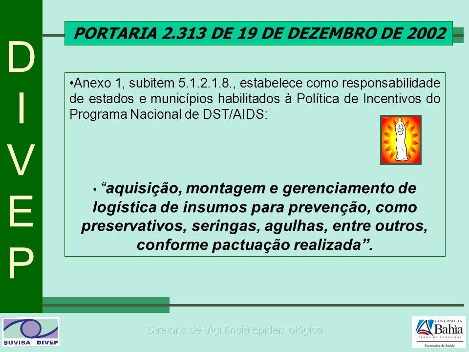 DIVEPDIVEP PORTARIA 2.313 DE 19 DE DEZEMBRO DE 2002 Anexo 1, subitem 5.1.2.1.8., estabelece como responsabilidade de estados e municípios habilitados à Política de Incentivos do Programa Nacional de DST/AIDS: aquisição, montagem e gerenciamento de logística de insumos para prevenção, como preservativos, seringas, agulhas, entre outros, conforme pactuação realizada.