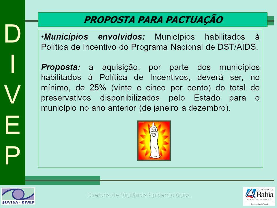 DIVEPDIVEP PROPOSTA PARA PACTUAÇÃO Municípios envolvidos: Municípios habilitados à Política de Incentivo do Programa Nacional de DST/AIDS. Proposta: a