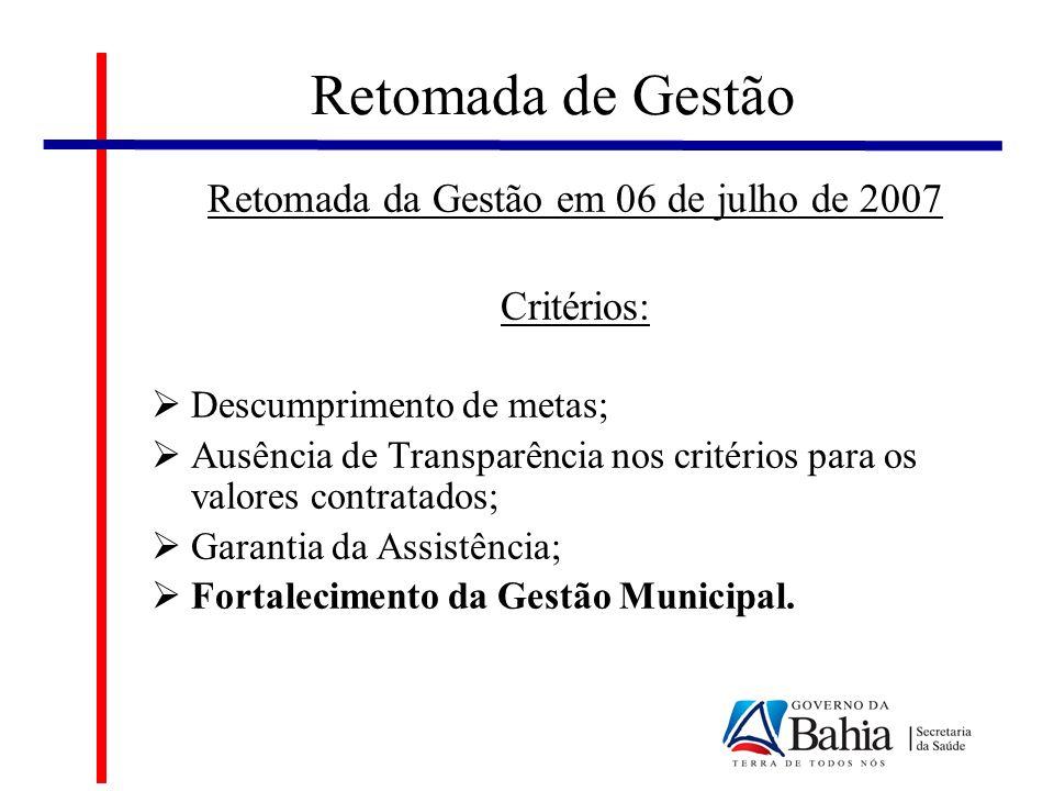 Retomada de Gestão Retomada da Gestão em 06 de julho de 2007 Critérios: Descumprimento de metas; Ausência de Transparência nos critérios para os valores contratados; Garantia da Assistência; Fortalecimento da Gestão Municipal.