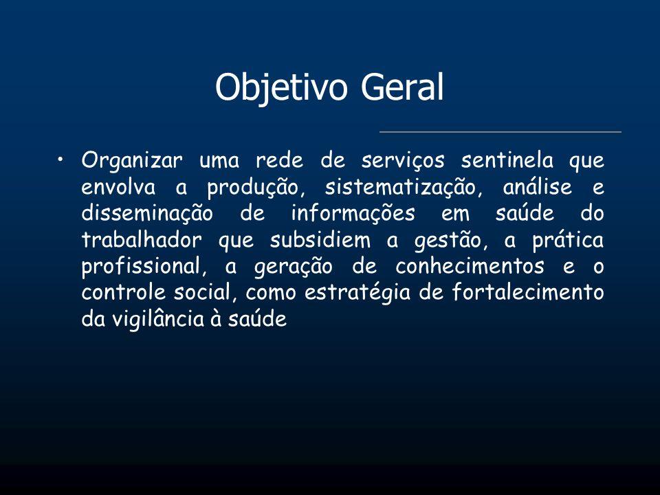 Objetivo Geral Organizar uma rede de serviços sentinela que envolva a produção, sistematização, análise e disseminação de informações em saúde do trab