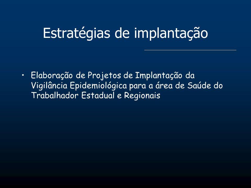 Estratégias de implantação Elaboração de Projetos de Implantação da Vigilância Epidemiológica para a área de Saúde do Trabalhador Estadual e Regionais