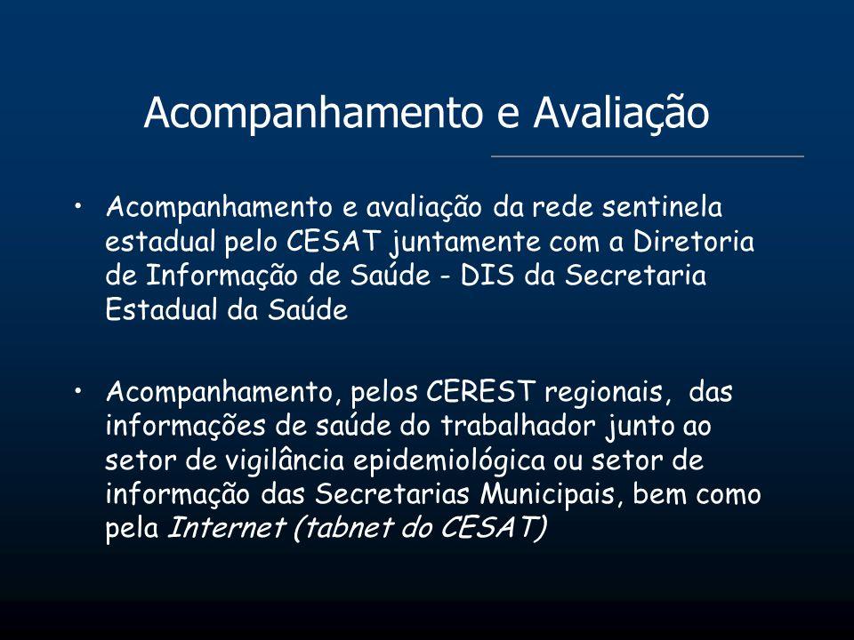 Acompanhamento e Avaliação Acompanhamento e avaliação da rede sentinela estadual pelo CESAT juntamente com a Diretoria de Informação de Saúde - DIS da