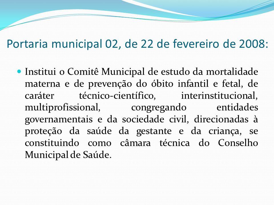 Portaria municipal 02, de 22 de fevereiro de 2008: Institui o Comitê Municipal de estudo da mortalidade materna e de prevenção do óbito infantil e fet