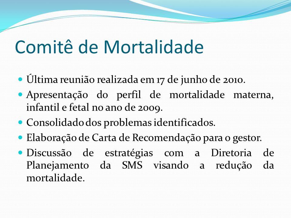 Comitê de Mortalidade Última reunião realizada em 17 de junho de 2010. Apresentação do perfil de mortalidade materna, infantil e fetal no ano de 2009.