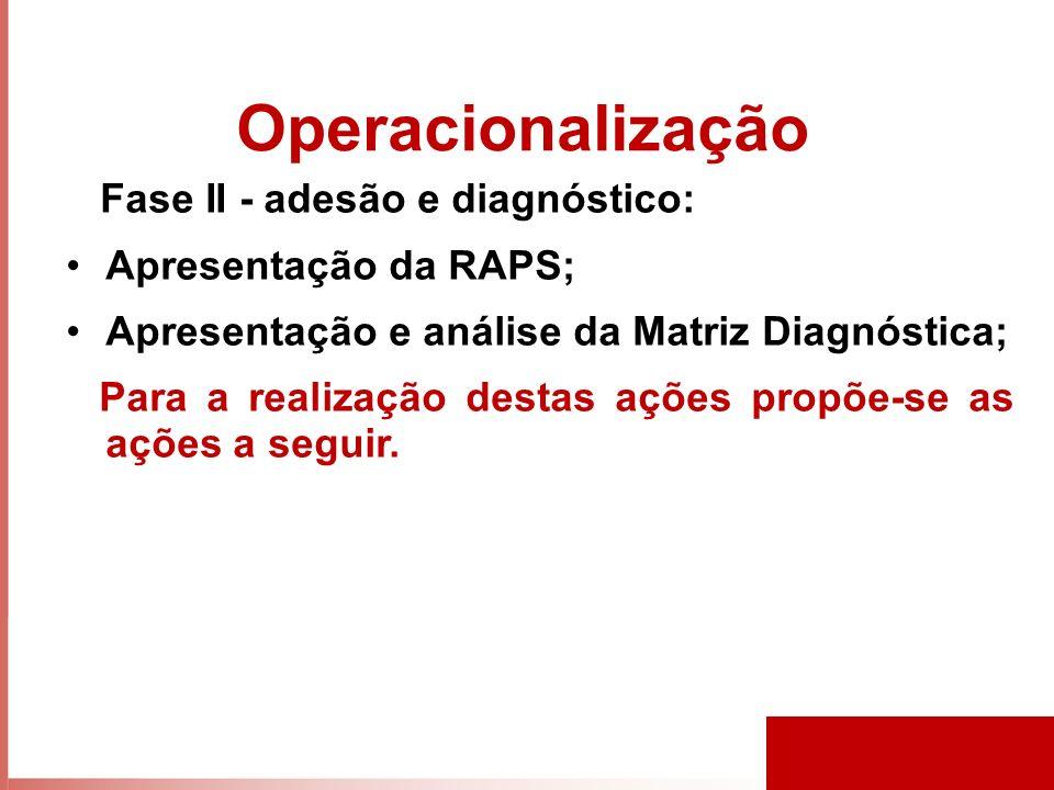 Operacionalização Fase II - adesão e diagnóstico: Apresentação da RAPS; Apresentação e análise da Matriz Diagnóstica; Para a realização destas ações propõe-se as ações a seguir.