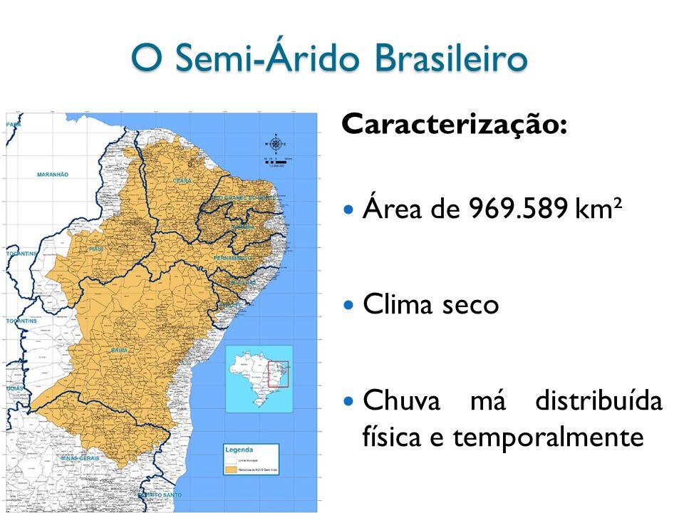 O Semi-Árido Brasileiro Área de 969.589 km² Clima seco Chuva má distribuída física e temporalmente Caracterização: