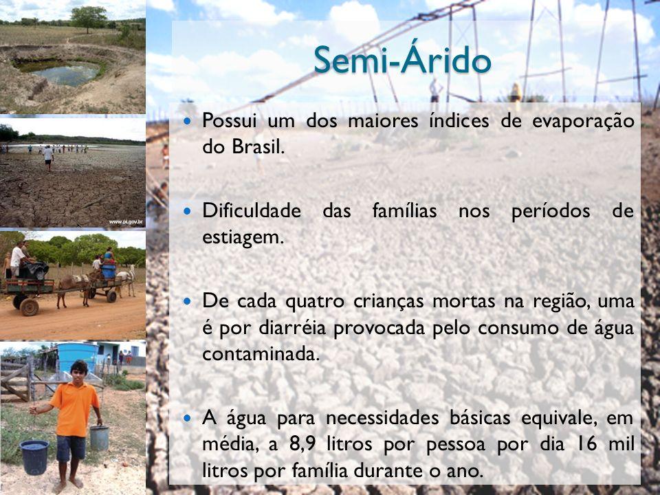 Semi-Árido Possui um dos maiores índices de evaporação do Brasil. Dificuldade das famílias nos períodos de estiagem. De cada quatro crianças mortas na