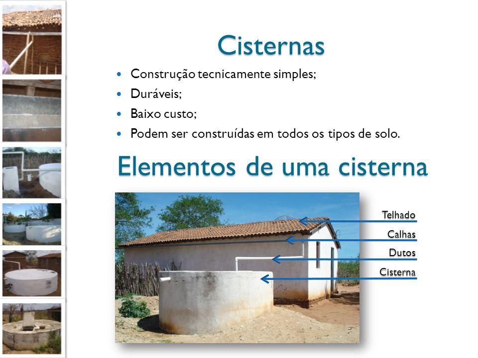 Cisternas Construção tecnicamente simples; Duráveis; Baixo custo; Podem ser construídas em todos os tipos de solo. Cisterna Dutos Telhado Calhas Eleme