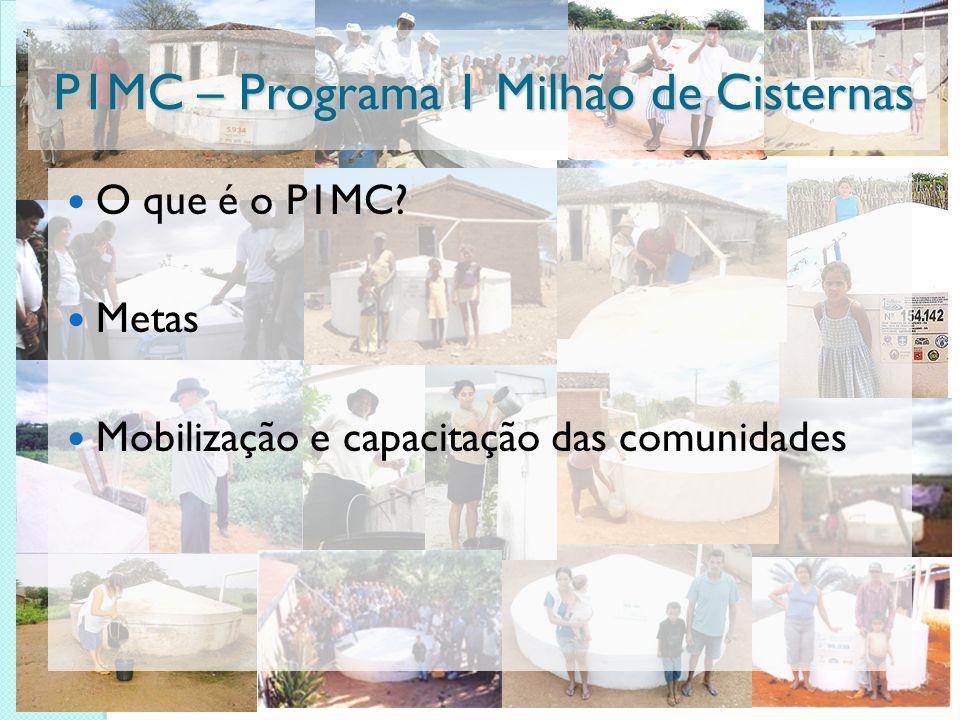 P1MC – Programa 1 Milhão de Cisternas O que é o P1MC? Metas Mobilização e capacitação das comunidades