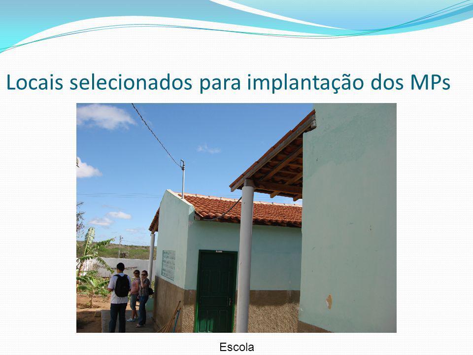 Locais selecionados para implantação dos MPs Escola