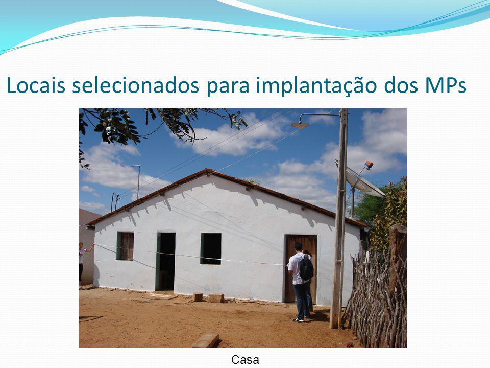 Locais selecionados para implantação dos MPs Casa
