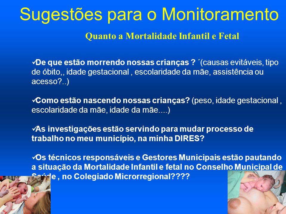 Sugestões para o Monitoramento De que estão morrendo nossas crianças ? ´(causas evitáveis, tipo de óbito,, idade gestacional, escolaridade da mãe, ass