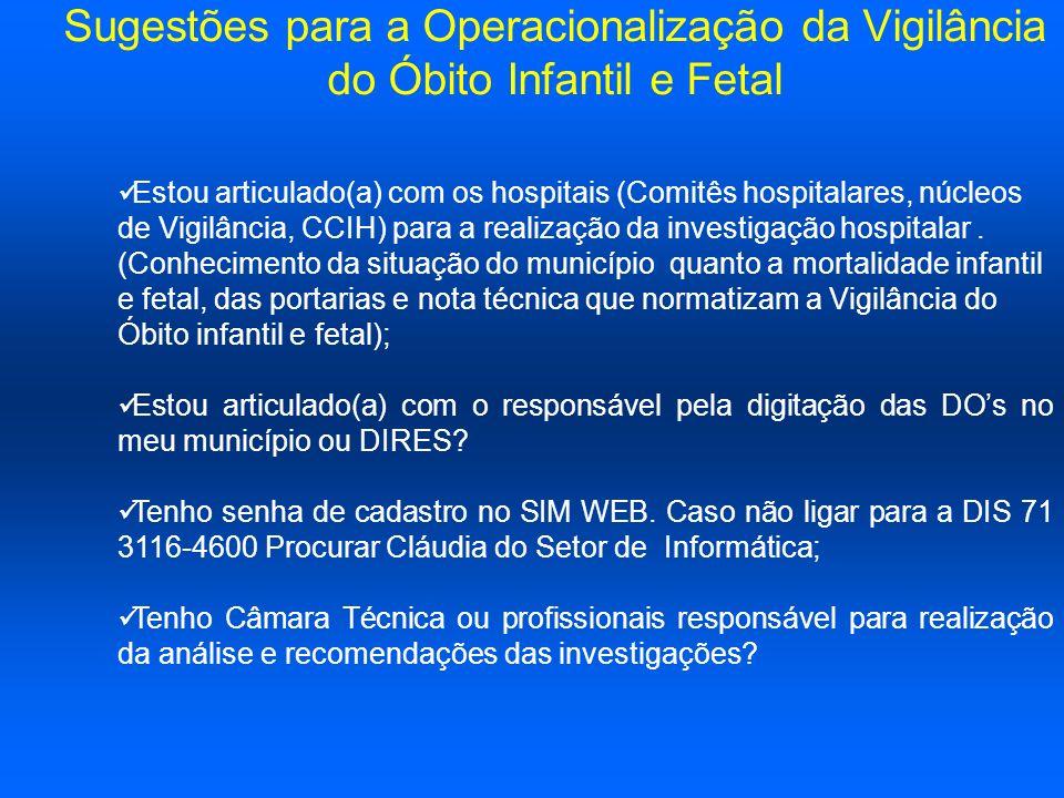 Sugestões para a Operacionalização da Vigilância do Óbito Infantil e Fetal Estou articulado(a) com os hospitais (Comitês hospitalares, núcleos de Vigi