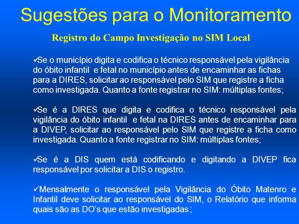 Sugestões para o Monitoramento Município de ocorrência que investiga a parte hospitalar ( Ver com o Ministério da Saúde???/ Registro do Campo Investigação no SIM Local
