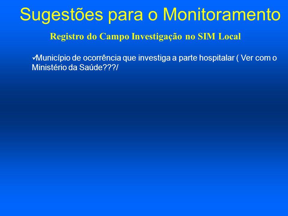 Sugestões para o Monitoramento Município de ocorrência que investiga a parte hospitalar ( Ver com o Ministério da Saúde???/ Registro do Campo Investig