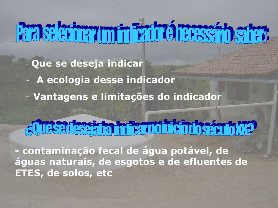 - Que se deseja indicar - A ecologia desse indicador - Vantagens e limitações do indicador - contaminação fecal de água potável, de águas naturais, de