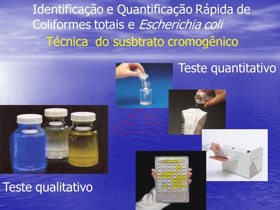 Identificação e Quantificação Rápida de Coliformes totais e Escherichia coli Técnica do susbtrato cromogênico Teste qualitativo Teste quantitativo