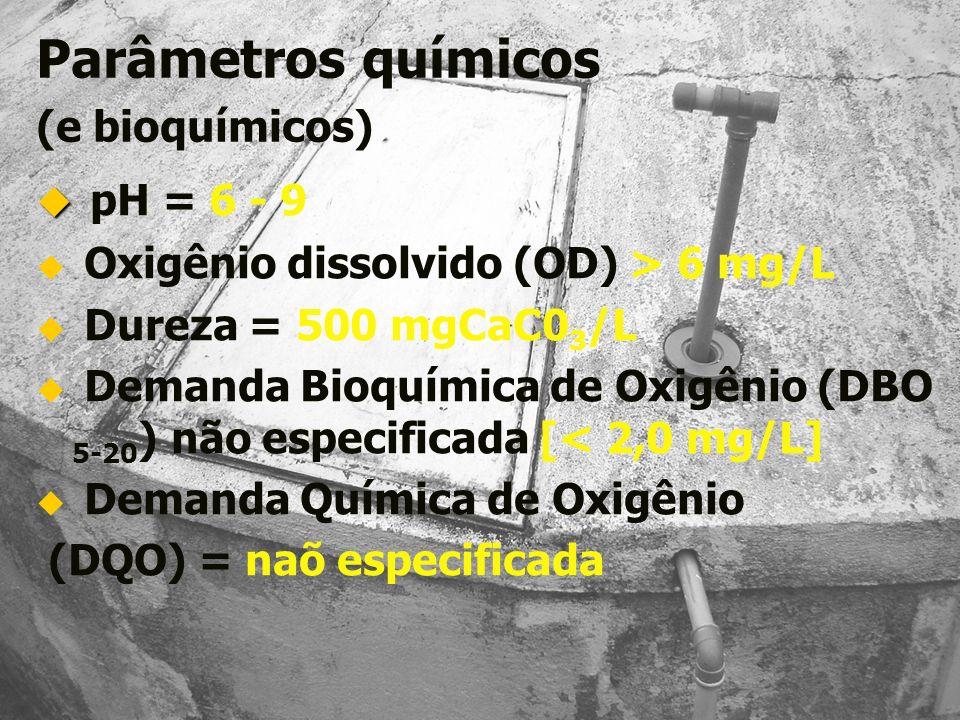 Parâmetros químicos (e bioquímicos) pH = 6 - 9 Oxigênio dissolvido (OD) > 6 mg/L Dureza = 500 mgCaC0 3 /L Demanda Bioquímica de Oxigênio (DBO 5-20 ) n