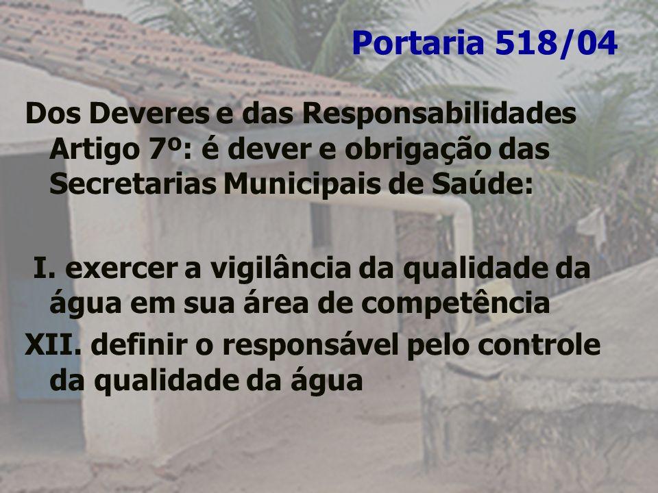 Portaria 518/04 Dos Deveres e das Responsabilidades Artigo 7º: é dever e obrigação das Secretarias Municipais de Saúde: I. exercer a vigilância da qua