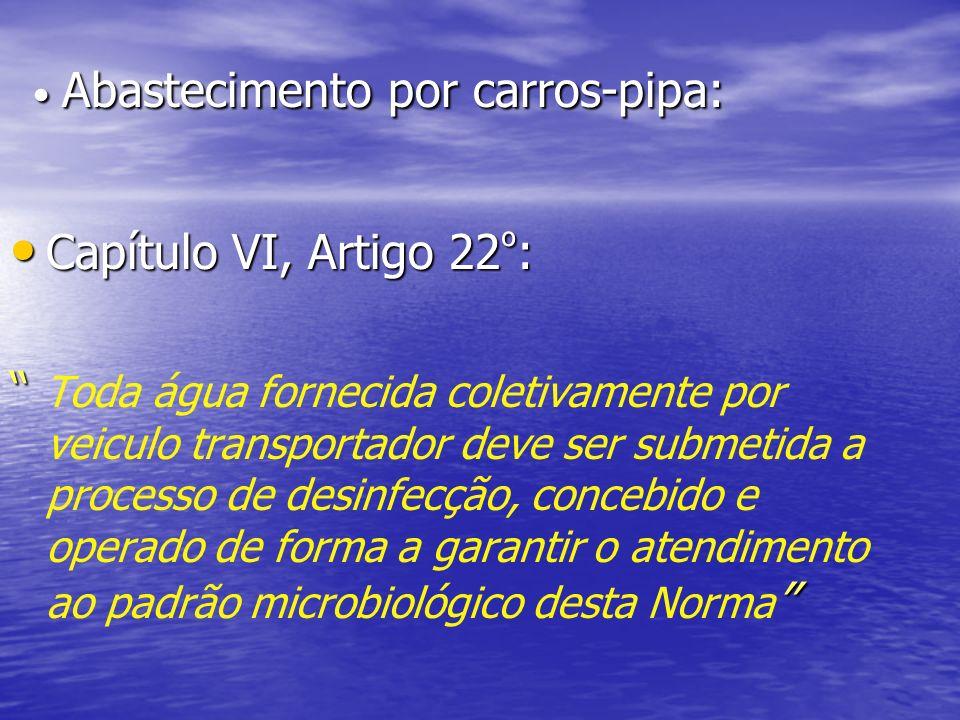 Abastecimento por carros-pipa: Abastecimento por carros-pipa: Capítulo VI, Artigo 22 º : Capítulo VI, Artigo 22 º : Toda água fornecida coletivamente