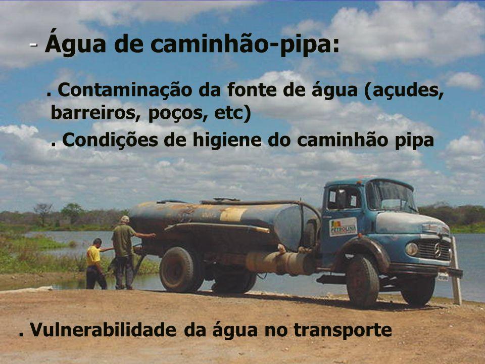 - - Água de caminhão-pipa:. Contaminação da fonte de água (açudes, barreiros, poços, etc). Condições de higiene do caminhão pipa. Vulnerabilidade da á