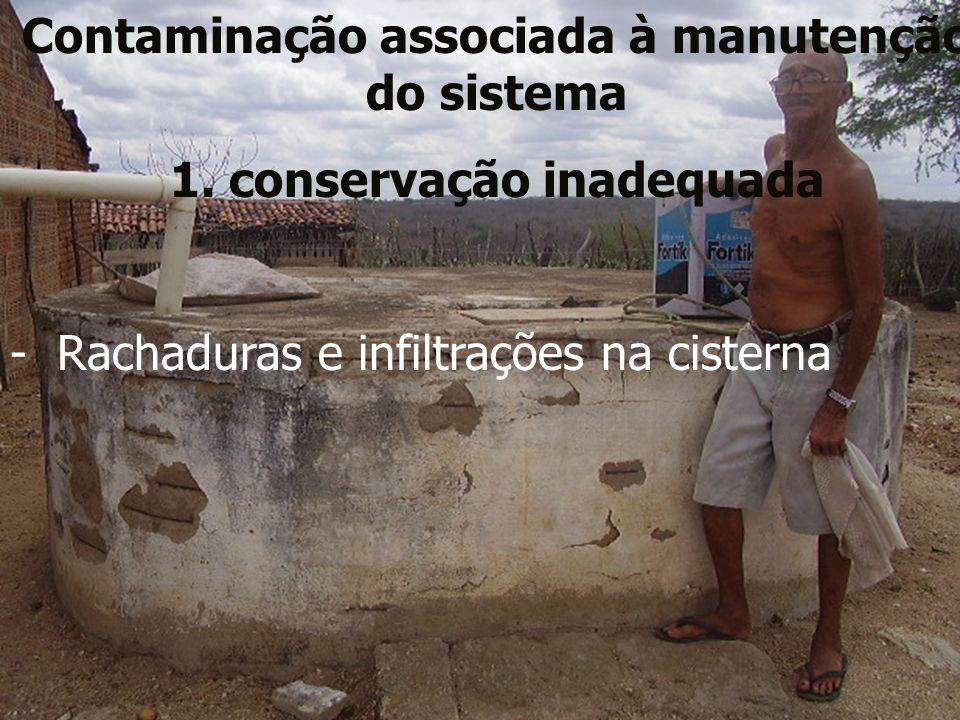 Contaminação associada à manutenção do sistema 1. conservação inadequada - Rachaduras e infiltrações na cisterna