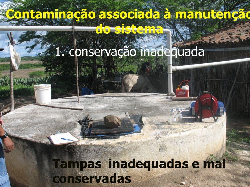 Contaminação associada à manutenção do sistema 1. conservação inadequada Tampas inadequadas e mal conservadas