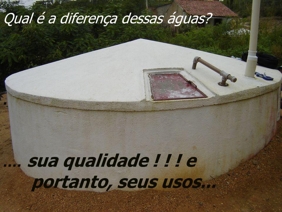Qual é a diferença dessas águas?..... sua qualidade ! ! ! e portanto, seus usos...