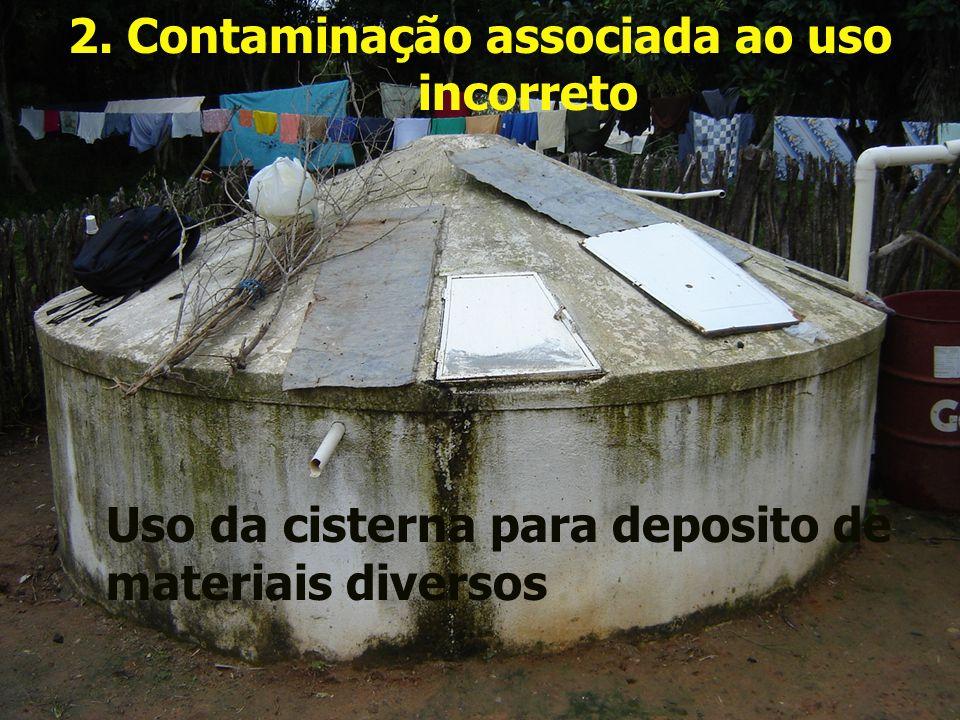 2. Contaminação associada ao uso incorreto Uso da cisterna para deposito de materiais diversos