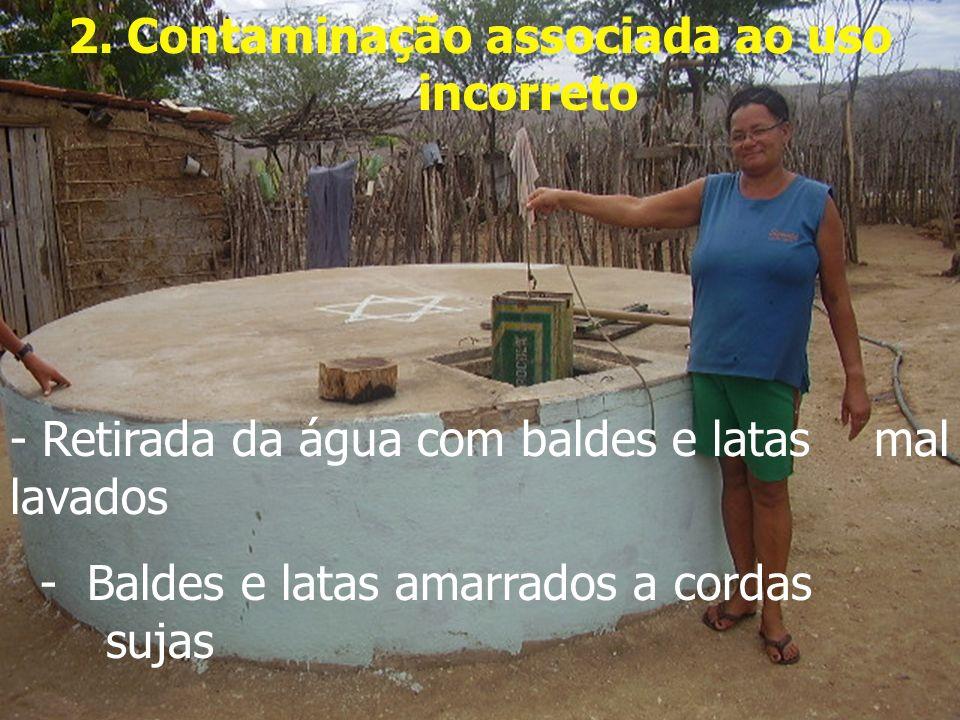 2. Contaminação associada ao uso incorreto - Retirada da água com baldes e latas mal lavados - Baldes e latas amarrados a cordas sujas