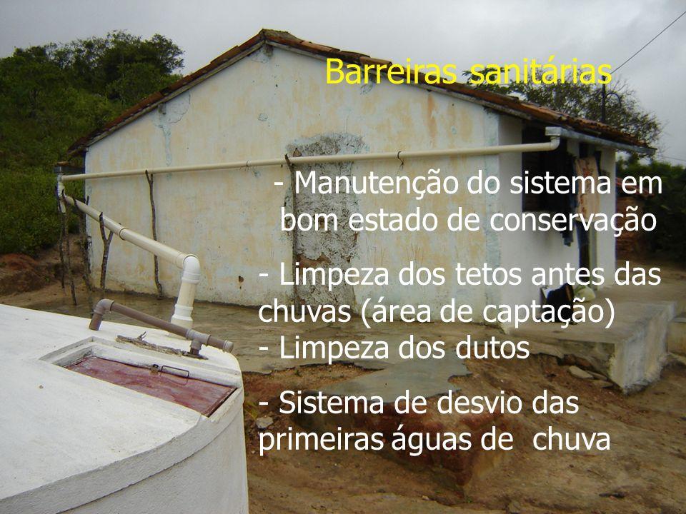Barreiras sanitárias - Manutenção do sistema em bom estado de conservação - Limpeza dos tetos antes das chuvas (área de captação) - Limpeza dos dutos