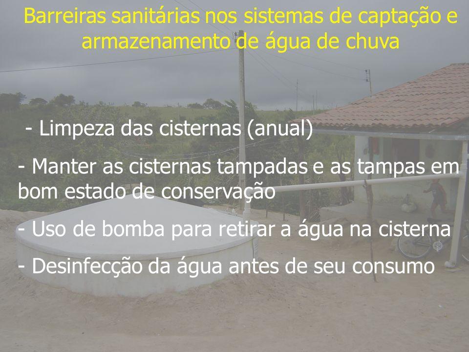Barreiras sanitárias nos sistemas de captação e armazenamento de água de chuva - Limpeza das cisternas (anual) - Manter as cisternas tampadas e as tam