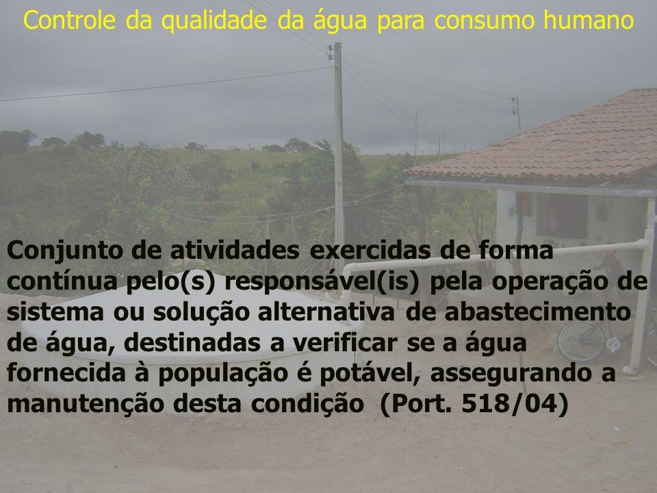 Controle da qualidade da água para consumo humano Conjunto de atividades exercidas de forma contínua pelo(s) responsável(is) pela operação de sistema