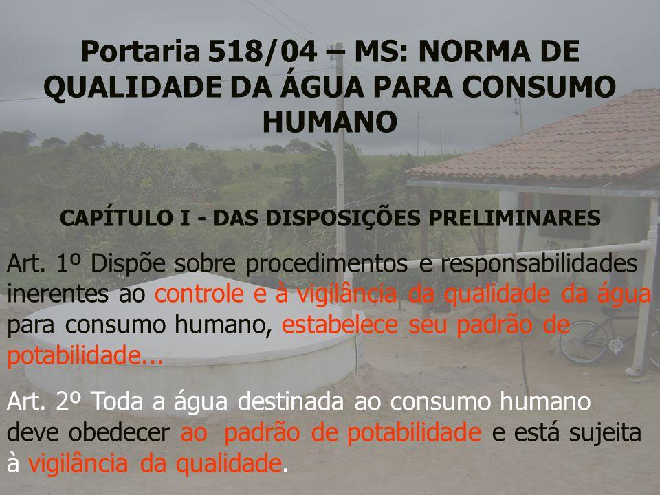 Portaria 518/04 – MS: NORMA DE QUALIDADE DA ÁGUA PARA CONSUMO HUMANO CAPÍTULO I - DAS DISPOSIÇÕES PRELIMINARES Art. 1º Dispõe sobre procedimentos e re