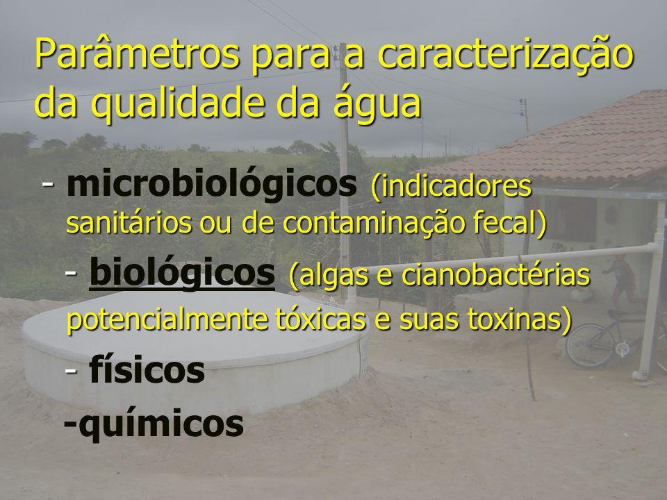 Parâmetros para a caracterização da qualidade da água - (indicadores sanitários ou de contaminação fecal) - microbiológicos (indicadores sanitários ou