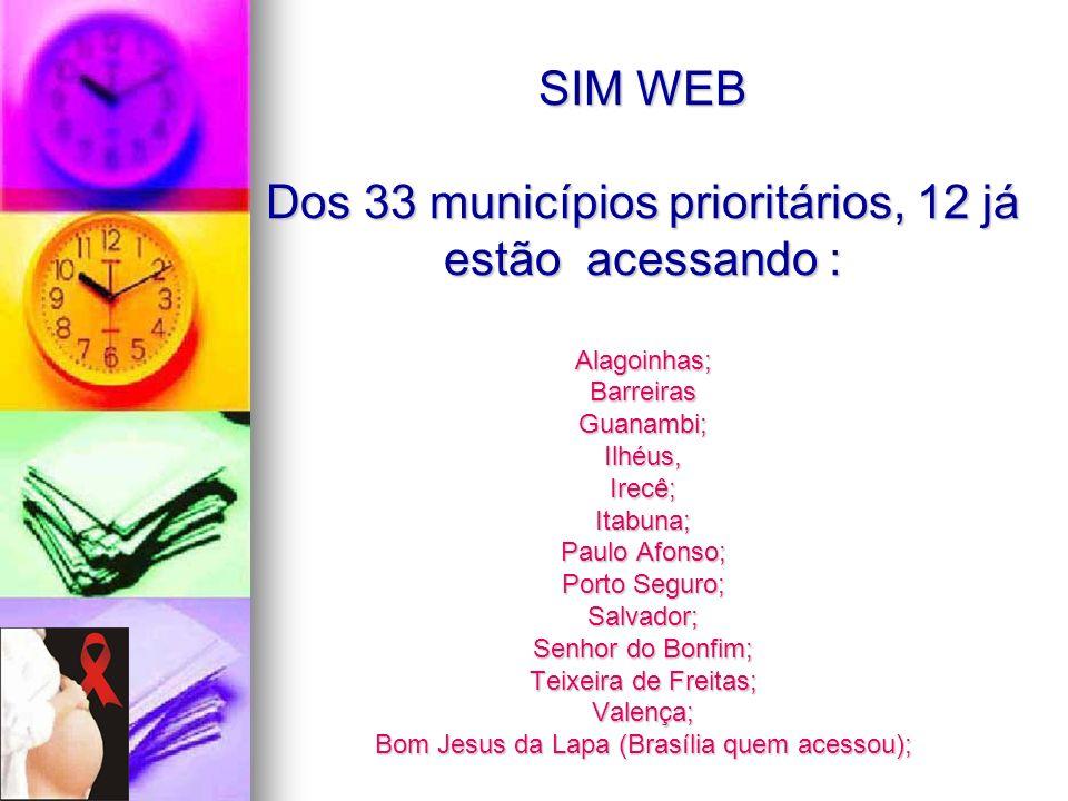 SIM WEB Dos 33 municípios prioritários, 12 já estão acessando : Alagoinhas; Barreiras Guanambi; Ilhéus, Irecê; Itabuna; Paulo Afonso; Porto Seguro; Sa