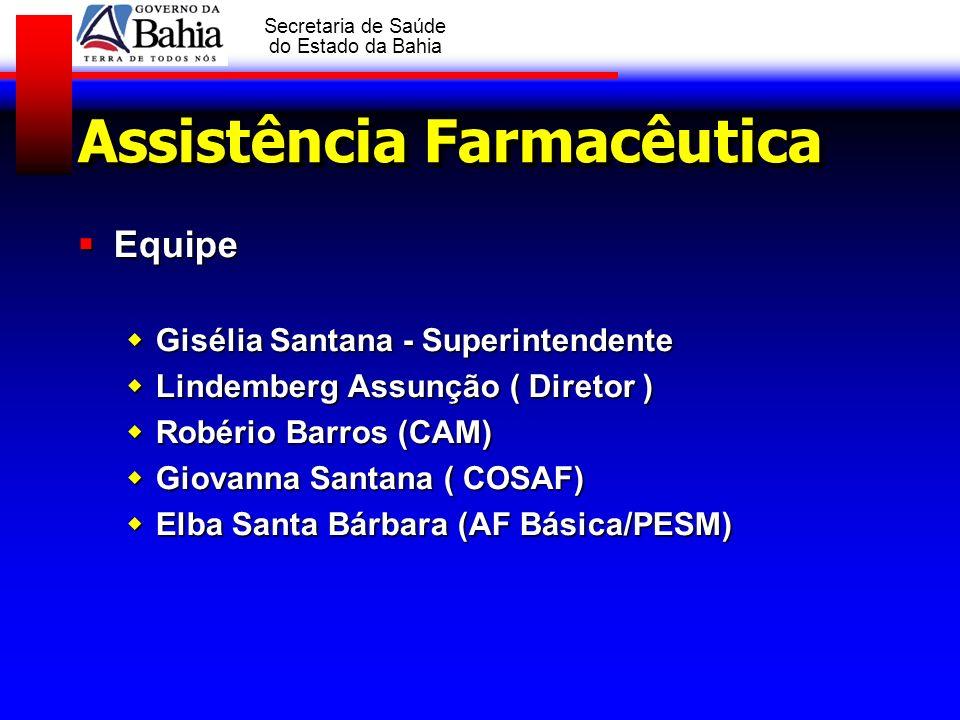 GOVERNO DA BAHIA Secretaria de Saúde do Estado da Bahia Assistência Farmacêutica Equipe Equipe Gisélia Santana - Superintendente Gisélia Santana - Sup