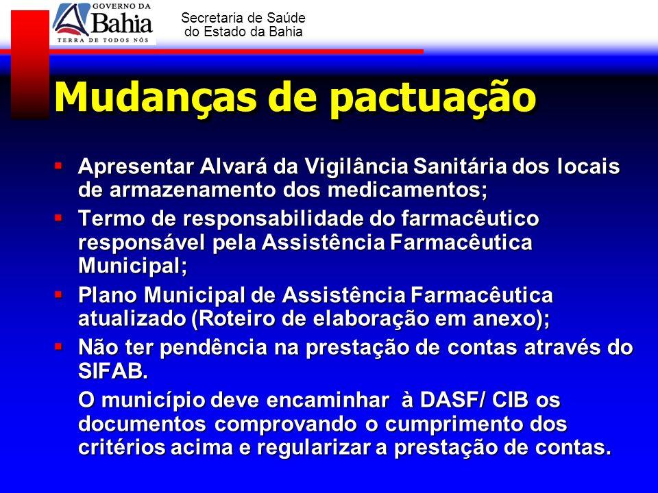 GOVERNO DA BAHIA Secretaria de Saúde do Estado da Bahia Mudanças de pactuação Apresentar Alvará da Vigilância Sanitária dos locais de armazenamento do