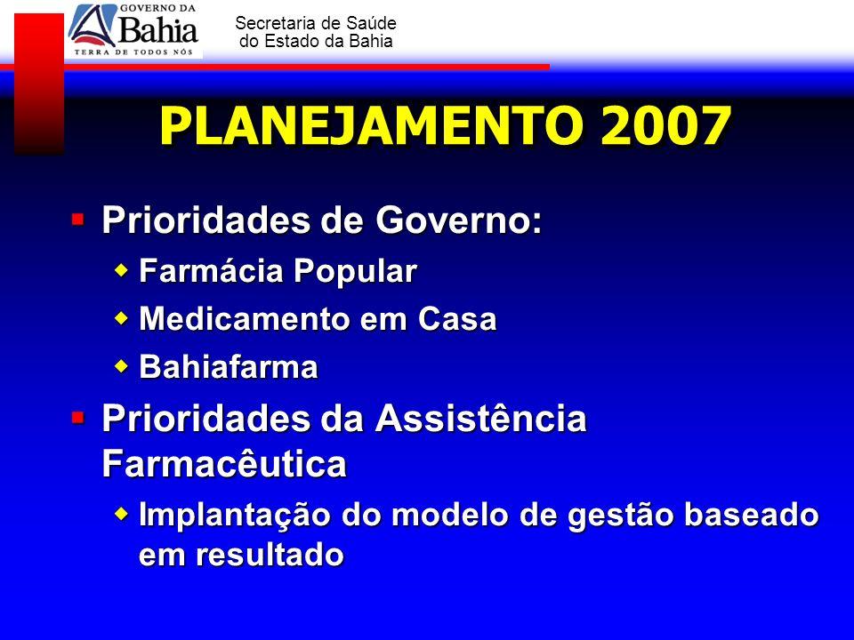GOVERNO DA BAHIA Secretaria de Saúde do Estado da Bahia PLANEJAMENTO 2007 Prioridades de Governo: Prioridades de Governo: Farmácia Popular Farmácia Po