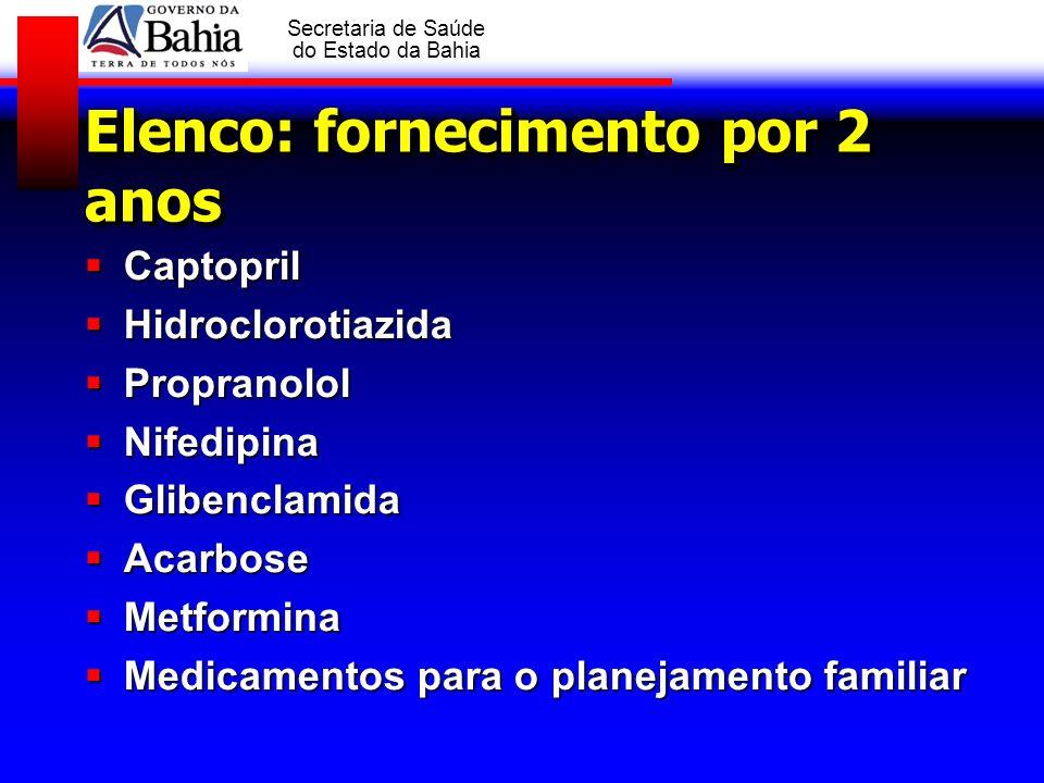 GOVERNO DA BAHIA Secretaria de Saúde do Estado da Bahia Elenco: fornecimento por 2 anos Captopril Captopril Hidroclorotiazida Hidroclorotiazida Propra