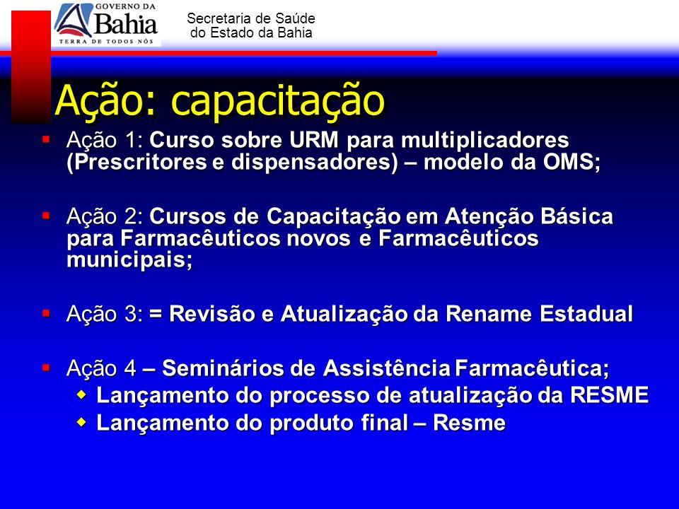 GOVERNO DA BAHIA Secretaria de Saúde do Estado da Bahia Ação: capacitação Ação 1: Curso sobre URM para multiplicadores (Prescritores e dispensadores)