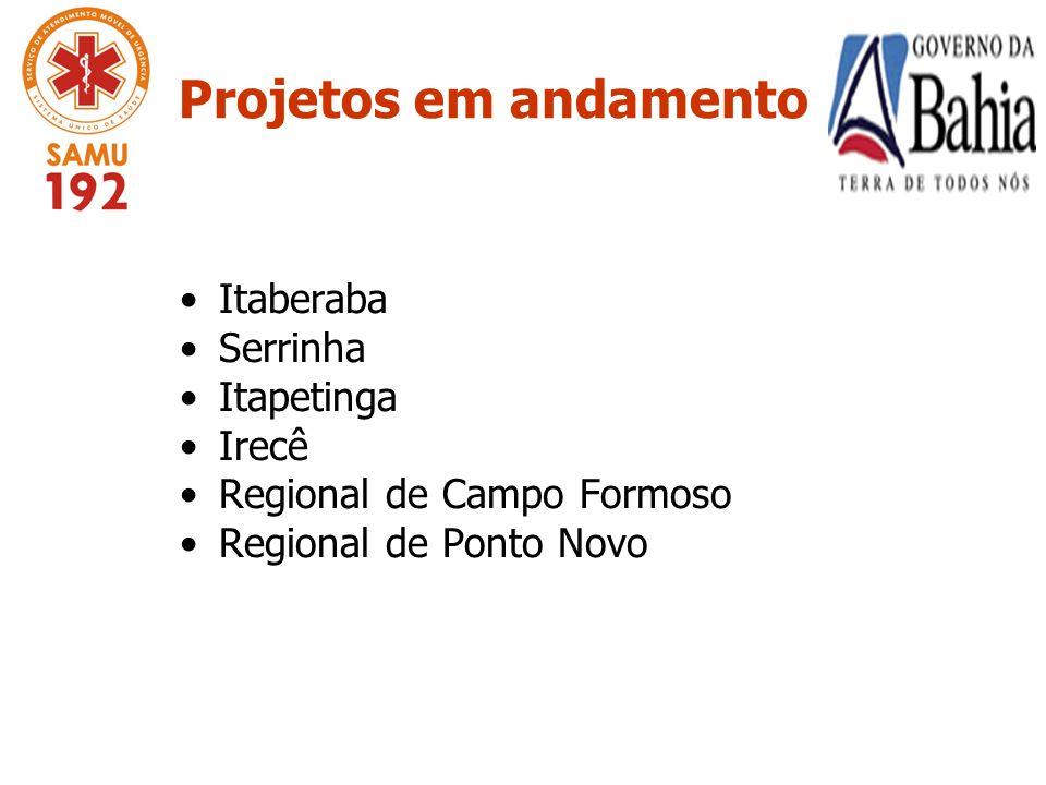 Projetos em andamento Itaberaba Serrinha Itapetinga Irecê Regional de Campo Formoso Regional de Ponto Novo