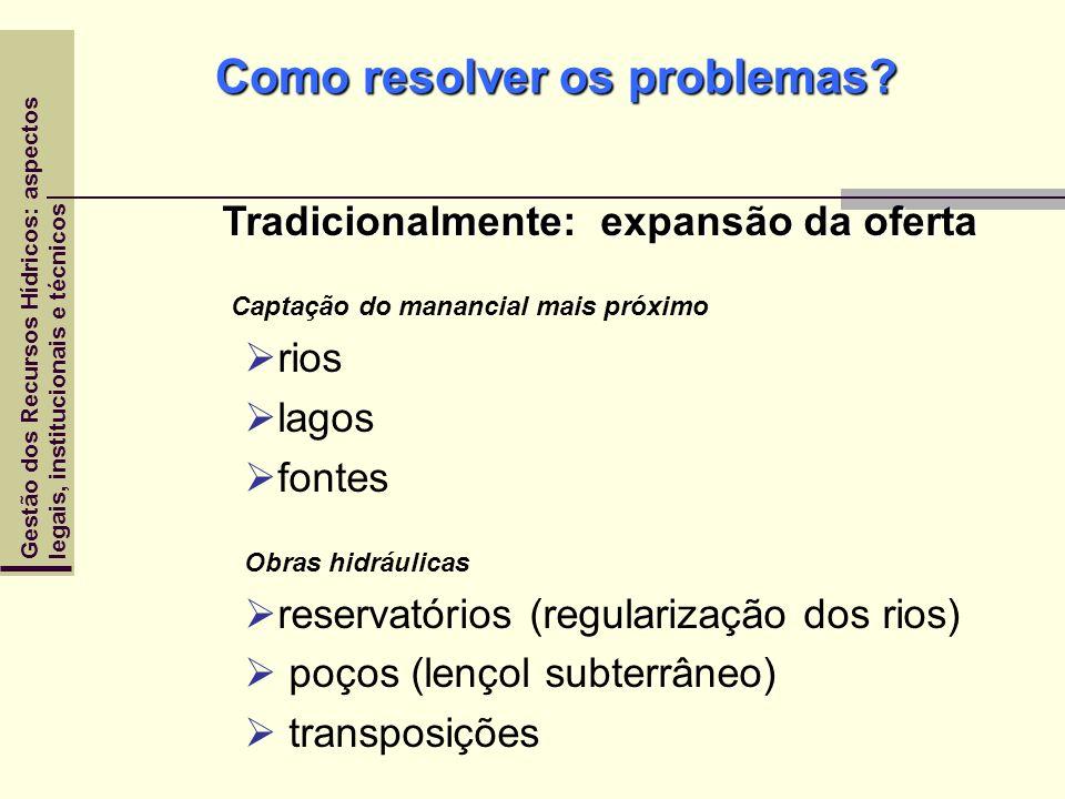 Gestão dos Recursos Hídricos: aspectoslegais, institucionais e técnicos Como resolver os problemas? Tradicionalmente: expansão da oferta Captação do m