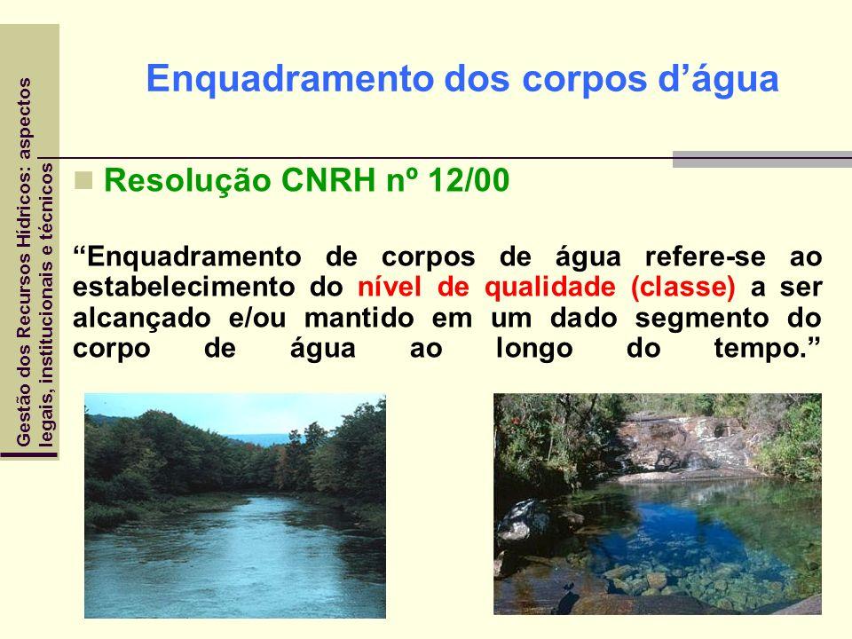 Enquadramento dos corpos dágua Resolução CNRH nº 12/00 Enquadramento de corpos de água refere-se ao estabelecimento do nível de qualidade (classe) a s